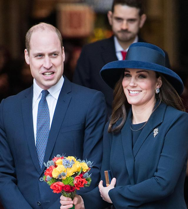 The Duke and Duchess of Cambridge leaving the 2018 Commonwealth Day service at Westminster Abbey on March 12.  (Samir Hussein via Getty Images)