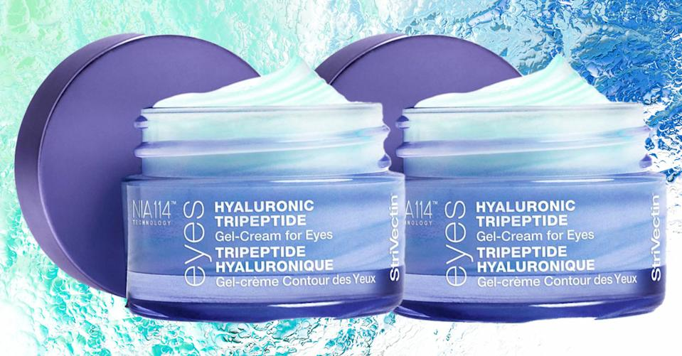 Score two jars of Strivectin Hyaluronic Tripeptide Gel Cream for Eyes for the price of one with HSN's Buy One, Get One sale. (Photo: HSN/Getty)
