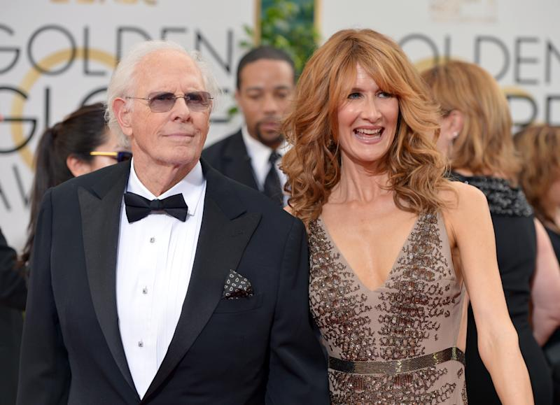 Bruce Dern, left, and Laura Dern arrive at the 71st annual Golden Globe Awards at the Beverly Hilton Hotel on Sunday, Jan. 12, 2014, in Beverly Hills, Calif. (Photo by John Shearer/Invision/AP)