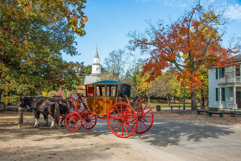 """<p><strong>Williamsburg</strong></p><p>Get stuck in the past and experience the American Revolution period in <a href=""""https://www.visitwilliamsburg.com/"""" rel=""""nofollow noopener"""" target=""""_blank"""" data-ylk=""""slk:Williamsburg"""" class=""""link rapid-noclick-resp"""">Williamsburg</a>, Virginia. Williamsburg was the site for the final battle of the American Civil War. History buffs can visit spots that were frequented by Thomas Jefferson and George Washington as well as see original buildings from the 18th Century.</p>"""