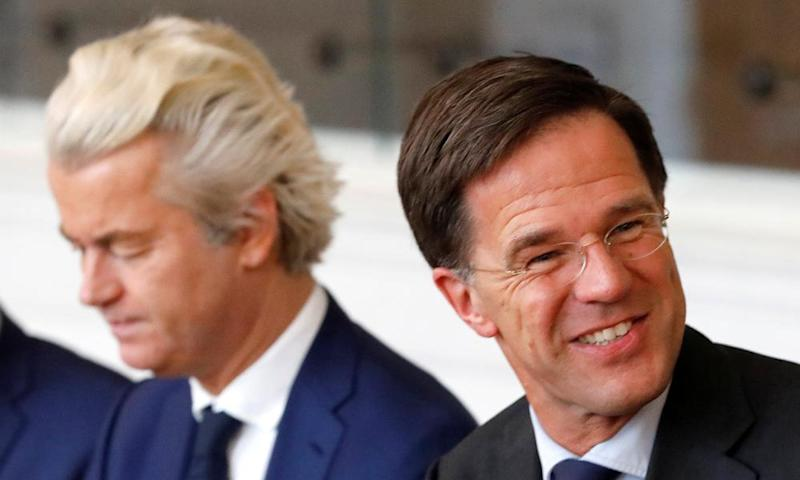 Geert Wilders, left, with Mark Rutte