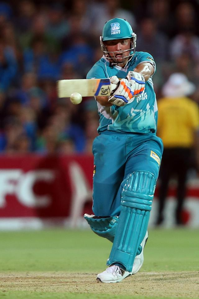 ADELAIDE, AUSTRALIA - DECEMBER 13:  Peter Forrest of the Heat bats during the Big Bash League match between the Adelaide Strikers and the Brisbane Heat at Adelaide Oval on December 13, 2012 in Adelaide, Australia.  (Photo by Morne de Klerk/Getty Images)
