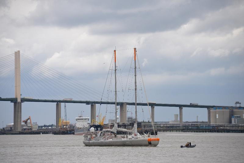 French research vessel Tara sails on the Thames river, leaving London and heading to Hamburg for the second leg of Tara's Microplastics expedition. (AFP Photo/Amélie BOTTOLLIER-DEPOIS)