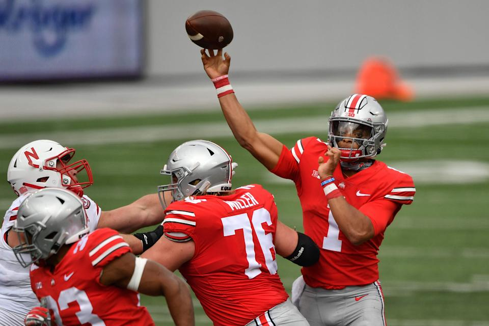 Quarterback Justin Fields #1 of the Ohio State Buckeyes passes against the Nebraska Cornhuskers at Ohio Stadium on Oct. 24, 2020. (Jamie Sabau/Getty Images)