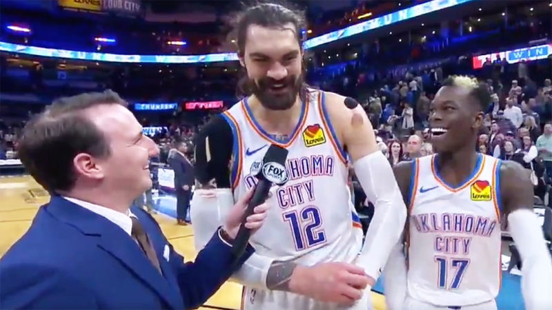 Oklahoma City Thunder star Steven Adams was almost too honest with his answer about his clutch play down the stretch against the Chicago Bulls. Picture: Twitter/OKC Thunder