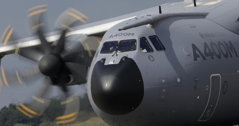 A new Airbus A400M military aircraft rolls on the runway after landing at Orleans air base