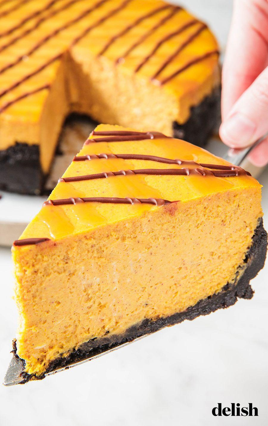 """<p>Oreo crust? Count us in! </p><p>Get the recipe from <a href=""""https://www.delish.com/cooking/recipe-ideas/recipes/a50173/chocolate-pumpkin-cheesecake-recipe/"""" rel=""""nofollow noopener"""" target=""""_blank"""" data-ylk=""""slk:Delish"""" class=""""link rapid-noclick-resp"""">Delish</a>. </p>"""
