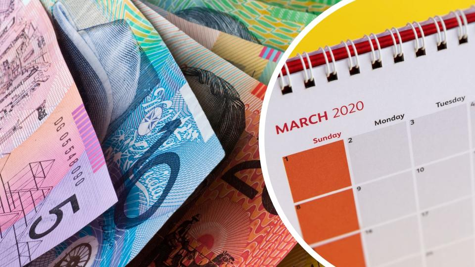 Pictured: Australian cash, March 2020 calendar.