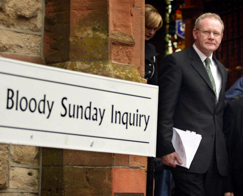 Bloody Sunday: Martin McGuinness departing from the Guildhall in Londonderry after giving evidence to the Saville Inquiry (PA)