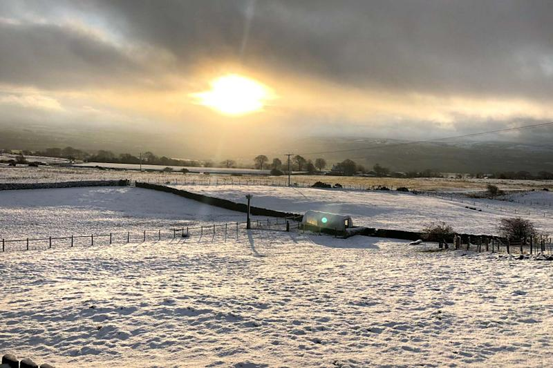 UK snow: Flurries fell overnight in Pendle in Lancashire: PA