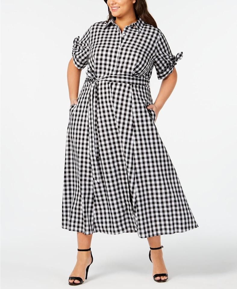 """<p>This pretty <a href=""""https://www.popsugar.com/buy/Calvin-Klein-Gingham-Midi-Shirtdress-492946?p_name=Calvin%20Klein%20Gingham%20Midi%20Shirtdress&retailer=macys.com&pid=492946&price=89&evar1=fab%3Aus&evar9=46647533&evar98=https%3A%2F%2Fwww.popsugar.com%2Ffashion%2Fphoto-gallery%2F46647533%2Fimage%2F46653145%2FCalvin-Klein-Gingham-Midi-Shirtdress&list1=shopping%2Cdresses%2Ccurve%2Cmacys%2Ccurve%20fashion&prop13=mobile&pdata=1"""" rel=""""nofollow"""" data-shoppable-link=""""1"""" target=""""_blank"""" class=""""ga-track"""" data-ga-category=""""Related"""" data-ga-label=""""https://www.macys.com/shop/product/calvin-klein-plus-size-gingham-midi-shirtdress?ID=7651660&amp;CategoryID=37038#fn=sp%3D1%26spc%3D1345%26ruleId%3D87%7CBOOST%20SAVED%20SET%7CBOOST%20ATTRIBUTE%26searchPass%3DmatchNone%26slotId%3D29"""" data-ga-action=""""In-Line Links"""">Calvin Klein Gingham Midi Shirtdress</a> ($89, originally $149) will look great with black ankle boots.</p>"""