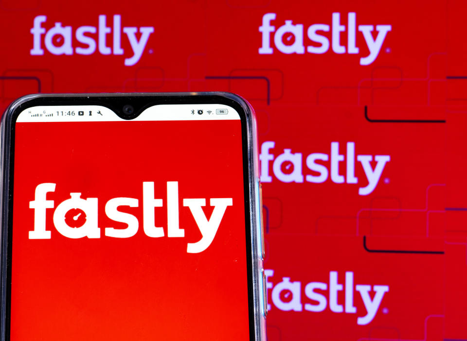 In this photo illustration a Fastly, Inc. logo is seen displayed on a smartphone screen. (Photo by Igor Golovniov / SOPA Images/Sipa USA)