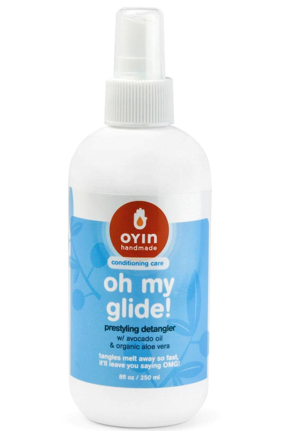 """<p><strong>Oyin Handmade</strong></p><p>amazon.com</p><p><strong>$12.98</strong></p><p><a href=""""https://www.amazon.com/dp/B07B537RYG?tag=syn-yahoo-20&ascsubtag=%5Bartid%7C10049.g.34358051%5Bsrc%7Cyahoo-us"""" rel=""""nofollow noopener"""" target=""""_blank"""" data-ylk=""""slk:Shop Now"""" class=""""link rapid-noclick-resp"""">Shop Now</a></p><p>Packed with oils, like sweet orange, this detangling spray<strong> loosens up any knots before you add <a href=""""https://www.cosmopolitan.com/style-beauty/beauty/g14506772/curly-hair-shampoo/"""" rel=""""nofollow noopener"""" target=""""_blank"""" data-ylk=""""slk:shampoo"""" class=""""link rapid-noclick-resp"""">shampoo</a>.</strong> It also adds slip to help your detangling brush slide through your hair, and injects a dose of hydration to moisturize your curls.</p>"""
