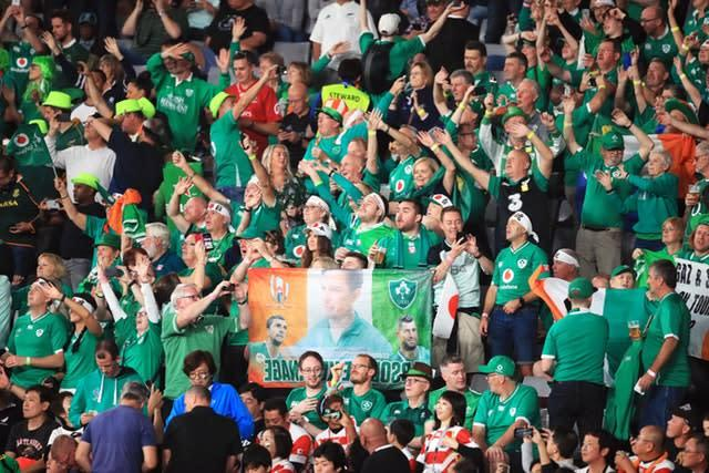 Ireland had great support in their quarter-final against New Zealand but plunged to a 46-14 defeat (Adam Davy/PA Images).