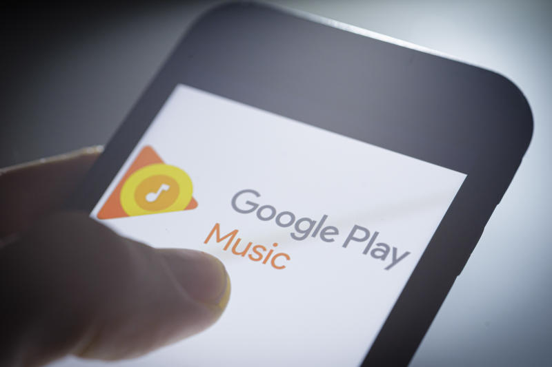 BERLIN, GERMANY - NOVEMBER 27: The Logo of Google Play Music is displayed on a smartphone on November 27, 2019 in Berlin, Germany. (Photo by Thomas Trutschel/Photothek via Getty Images)