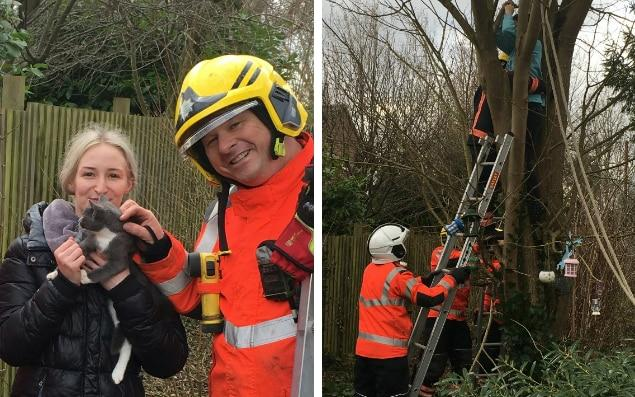 Saskia Cornwell was very pleased to be reunited with her cat - SWNS/Cambridgeshire Fire and Rescue Service