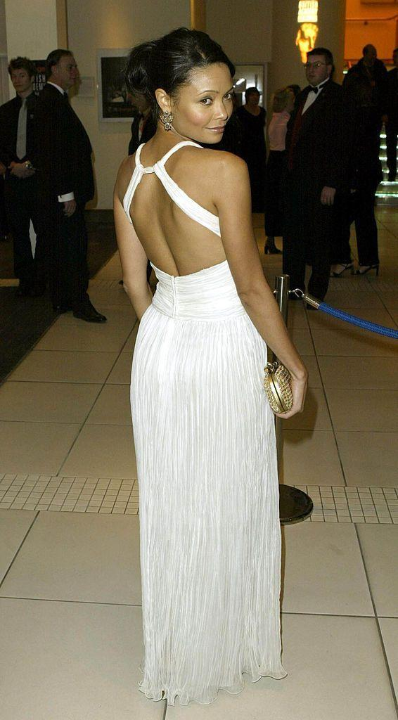 <p>The Westworld actor wore a grecian style white halter floor length dress to the music event in 2003.</p>