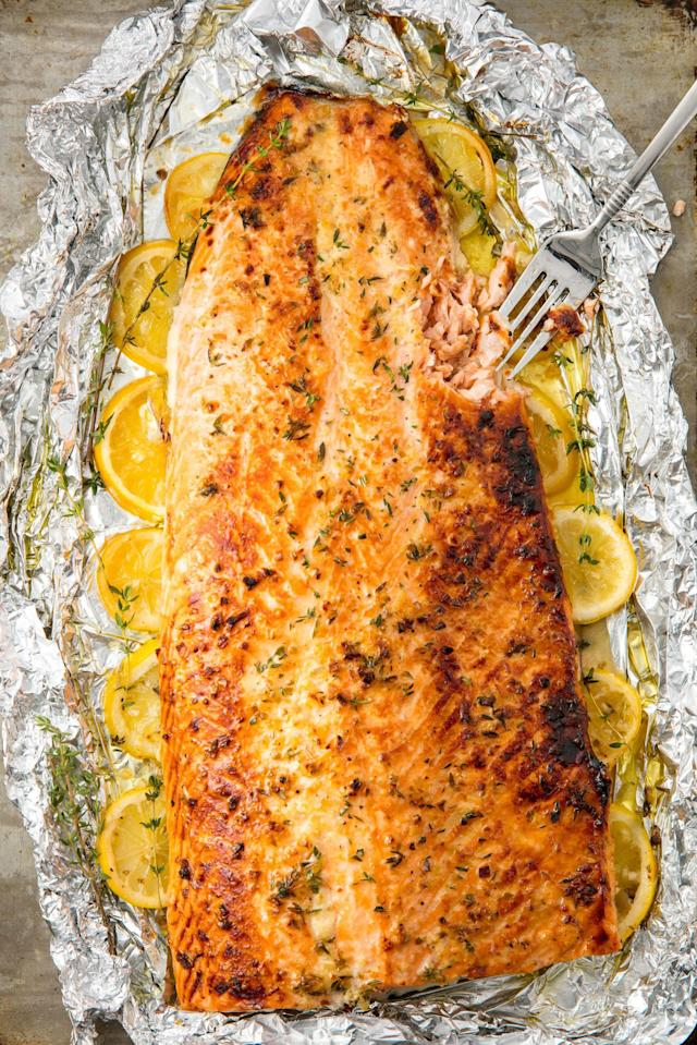 """<p>A super simple, hands off recipe that everyone will love.</p><p>Get the recipe from <a href=""""http://www.delish.com/cooking/recipe-ideas/recipes/a55315/best-baked-salmon-recipe/"""" rel=""""nofollow noopener"""" target=""""_blank"""" data-ylk=""""slk:Delish"""" class=""""link rapid-noclick-resp"""">Delish</a>.</p>"""