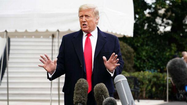 PHOTO: President Donald Trump talks to reporters before departing from the South Lawn of the White House, Jan. 13, 2020. (Mandel Ngan/AFP/Getty Images)