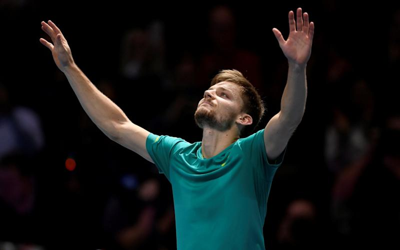 David Goffin celebrates his semi-final win over Roger Federer at theATP World Tour Finals - Action Images via Reuters