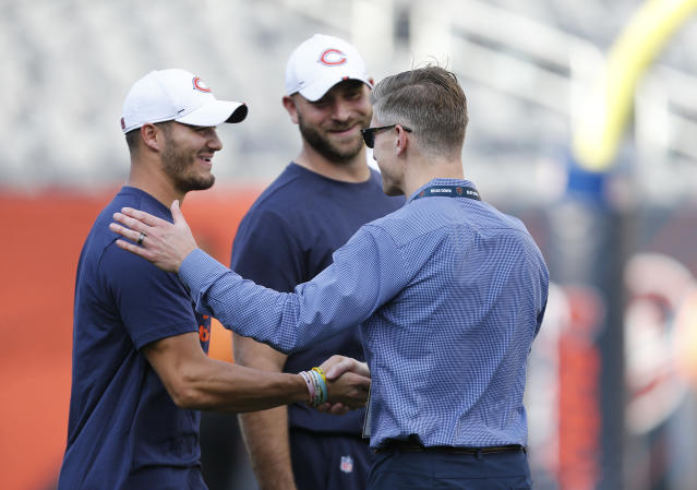 Chicago Bears GM Ryan Pace (R) is supporting Mitch Trubisky (L) as the teams's starting QB for now. (Photo by Nuccio DiNuzzo/Getty Images)