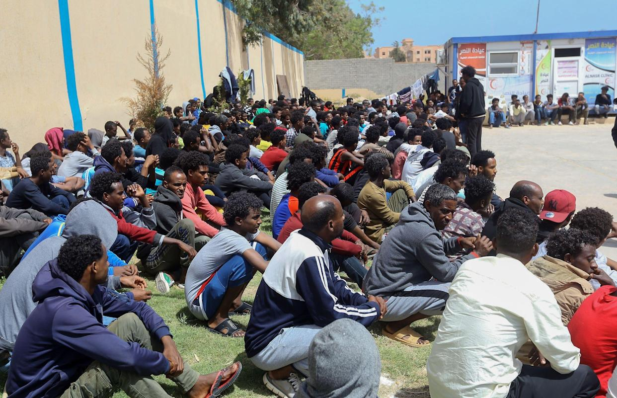 African migrants who fled battle zones in Libya gather at a detention center in Zawiya, west of the capital Tripoli, on April 27, 2019. (Photo: Mahmud Turkia/AFP/Getty Images)