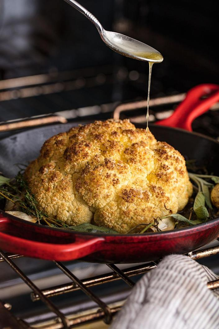 """<p>This gorg centerpiece is great for vegetarians and meat-eaters alike.</p><p>Get the recipe from <a href=""""https://www.delish.com/cooking/recipe-ideas/recipes/a50157/thanksgiving-cauliflower-recipe/"""" rel=""""nofollow noopener"""" target=""""_blank"""" data-ylk=""""slk:Delish"""" class=""""link rapid-noclick-resp"""">Delish</a>.</p>"""