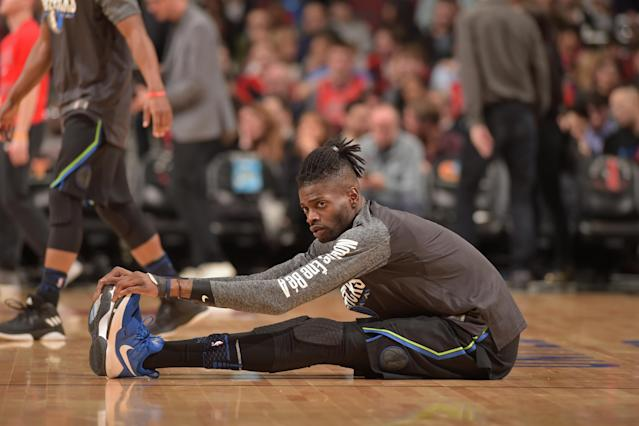 "<a class=""link rapid-noclick-resp"" href=""/nba/players/5157/"" data-ylk=""slk:Nerlens Noel"">Nerlens Noel</a> will spend the rest of the Mavericks' season sitting. (Getty)"