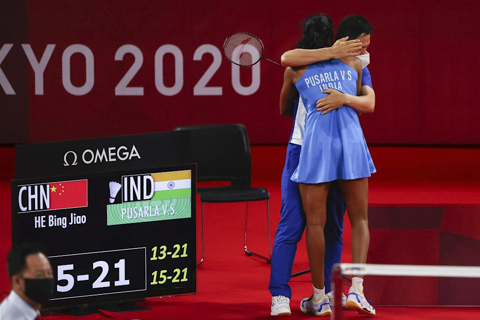 PV Sindhu with her coach Park Tae-Sang at the Olympics