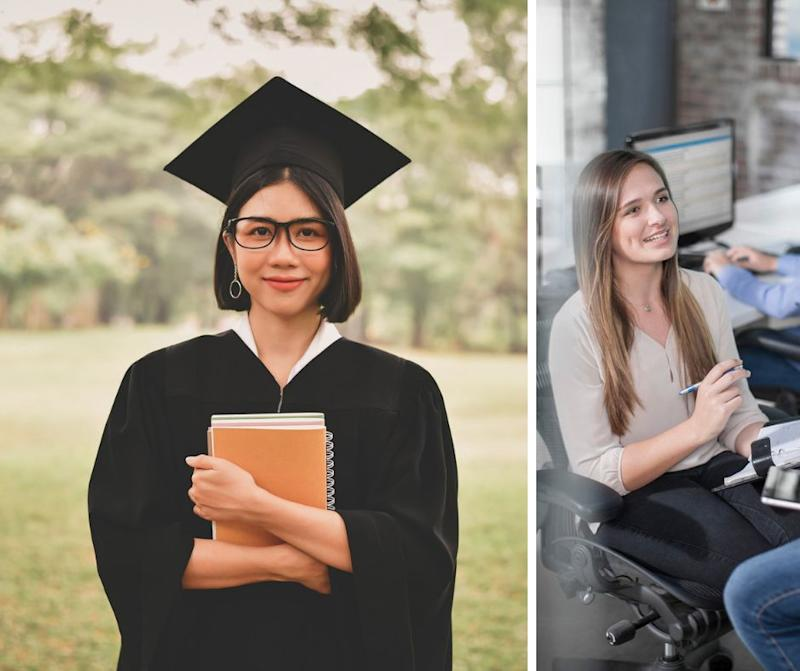 Is education or experience more valuable to employers? Young female student graduates university, and a woman undergoes work experience in an office. Source: Getty Source: Getty