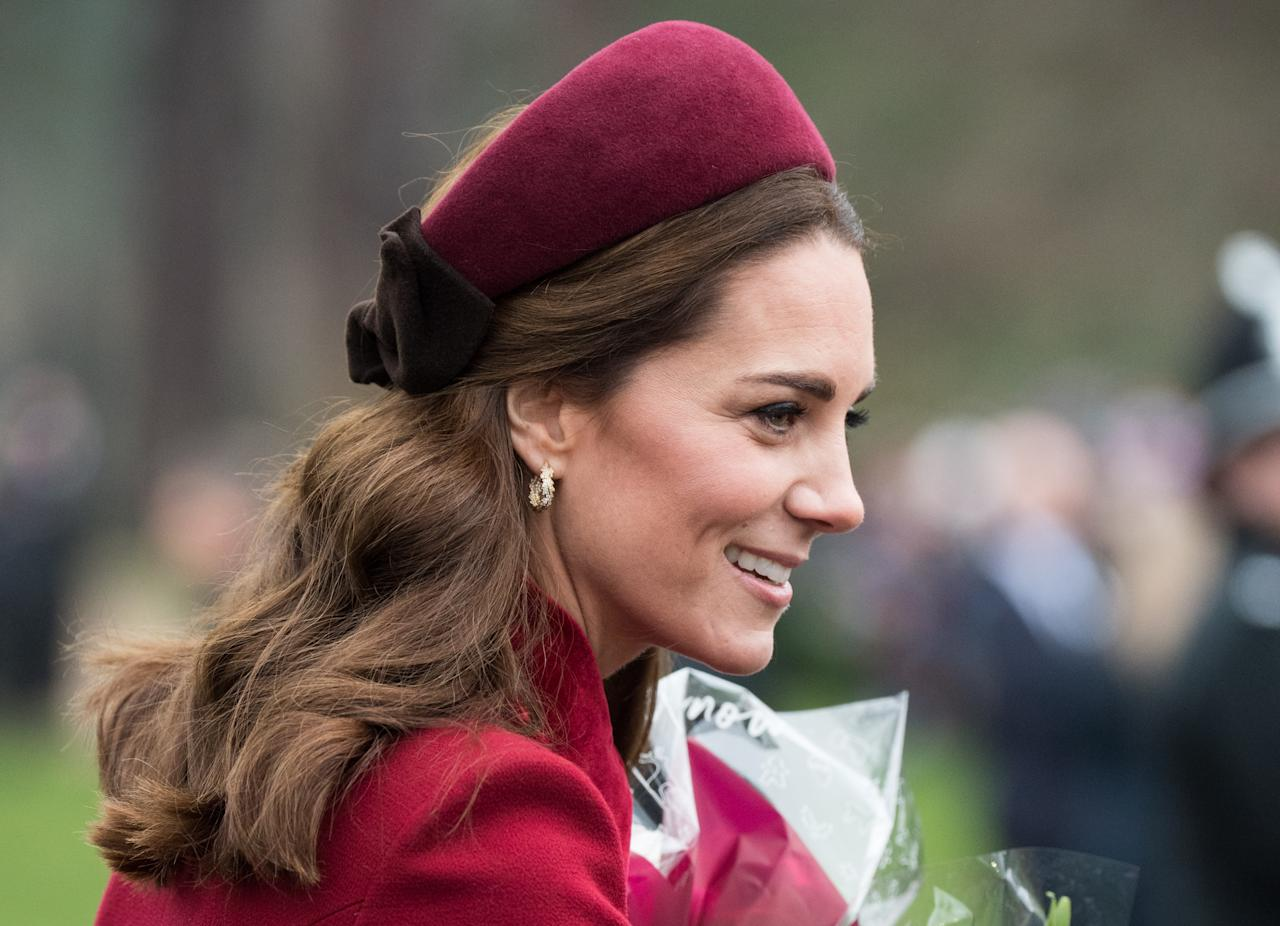 "<p>The Duchess also wore Jane Taylor's Halo Band to attend church alongside the Queen and senior members of the royal family on Christmas Day.<br /><strong>SHOP IT: <a rel=""nofollow"" href=""https://fave.co/2Ayu7Ia"">Jane Taylor, $1,449.09 CAD </a></strong> </p>"