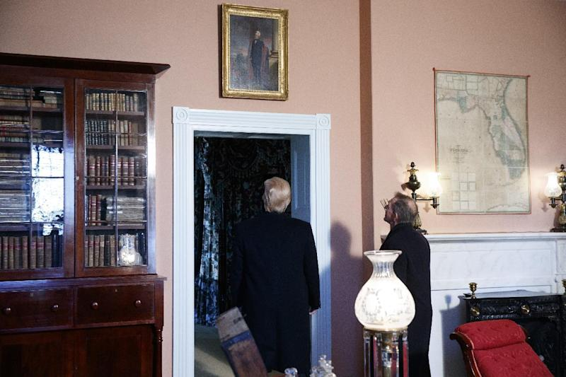 President Donald Trump takes a tour of the Hermitage, the home of President Andrew Jackson, to commemorate Jackson's 250th birthday, Wednesday, March 15, 2017, in Nashville, Tenn. (AP Photo/Evan Vucci)