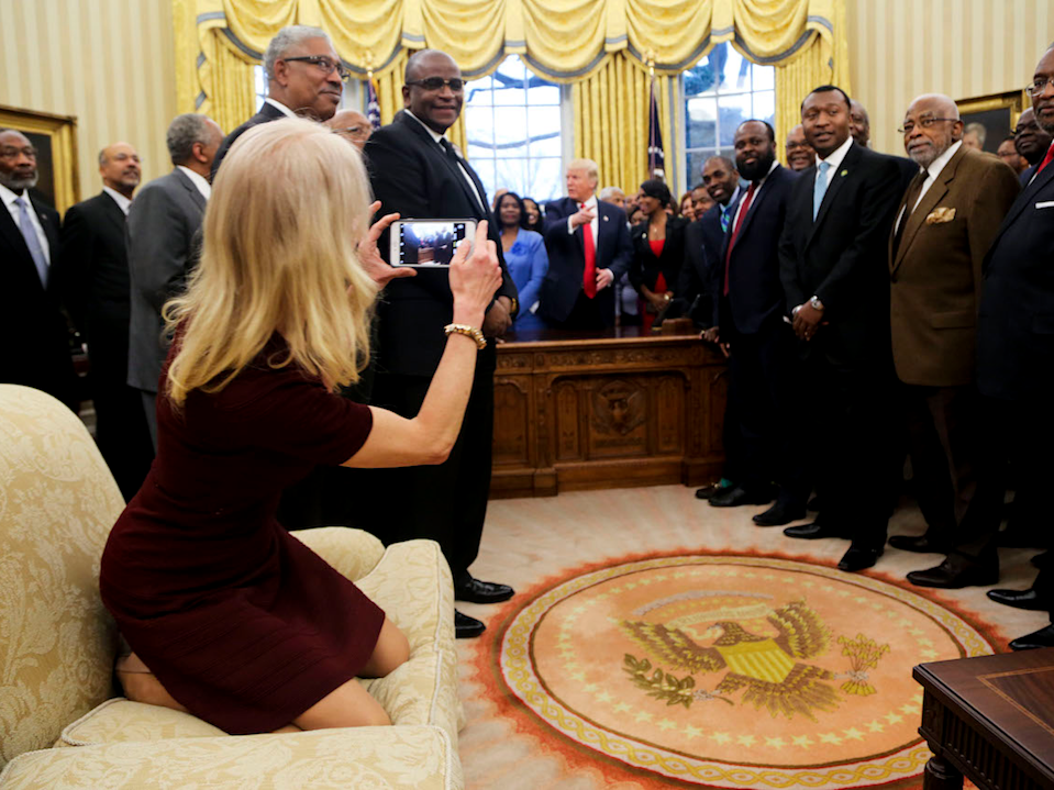 Kellyanne Conway in the Oval Office