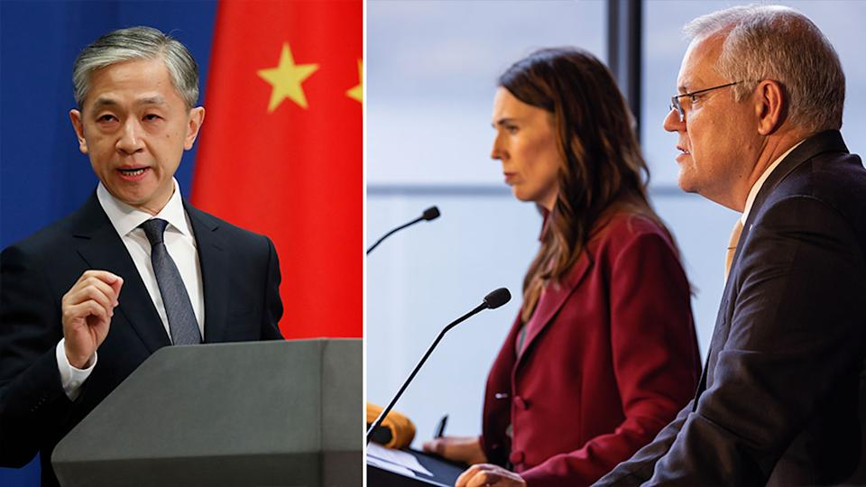 Pictured on the left is Wang Wenbin and on the right, Jacinda Ardern and Scott Morrison together at a press conference.