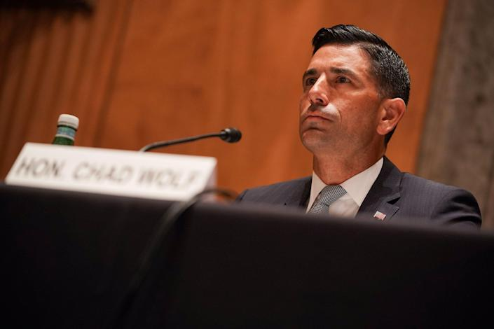 Acting Secretary of Homeland Security Chad Wolf testifies at his Senate Homeland Security and Governmental Affairs Committee confirmation hearing on September 23, 2020 in Washington, DC. (Photo by Greg Nash / POOL / AFP) (Photo by GREG NASH/POOL/AFP via Getty Images) ORG XMIT: 0 ORIG FILE ID: AFP_8QK4R2.jpg