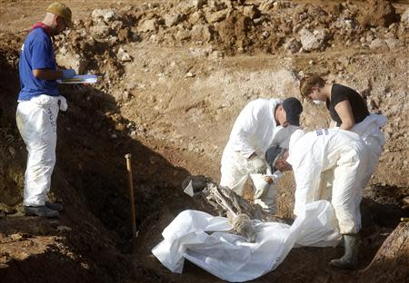 Forensic experts, members of the International Commision of Missing Persons (ICMP) and Bosnian workers search for human remains at a mass grave in the village of Tomasica near Prijedor, October 22, 2013. REUTERS/Dado Ruvic
