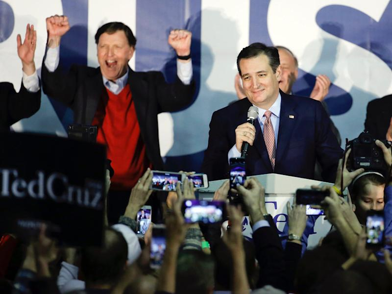 Republican presidential candidate, Sen. Ted Cruz, R-Texas, speaks during a caucus night rally, Monday, Feb. 1, 2016, in Des Moines, Iowa. Cruz sealed a victory in the Republican Iowa caucuses, winning on the strength of his relentless campaigning and support from his party's diehard conservatives.