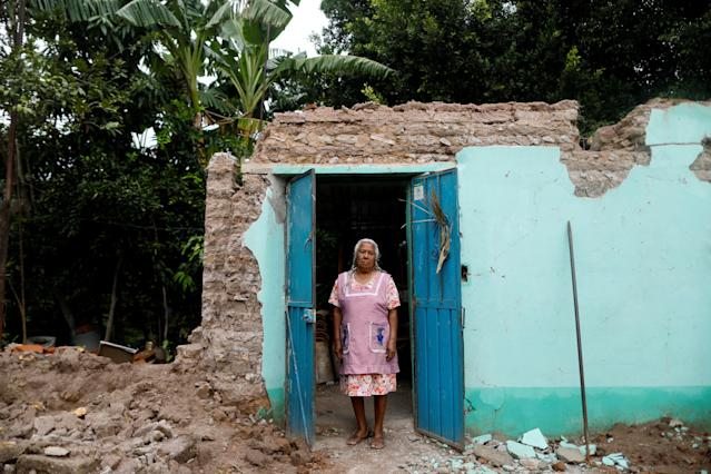 "<p>Catalina Martinez, 78, a housewife, poses for a portrait in the doorway of her house after an earthquake in San Jose Platanar, at the epicentre zone, Mexico, September 28, 2017. The house was badly damaged, but with the help of her family Martinez was able to rescue some furniture. She is living in her backyard and hopes that her home can be rebuilt. ""I hope the authorities do not deceive us with promises. I do not know what's going to happen to us,"" Martinez said. (Photo: Edgard Garrido/Reuters) </p>"