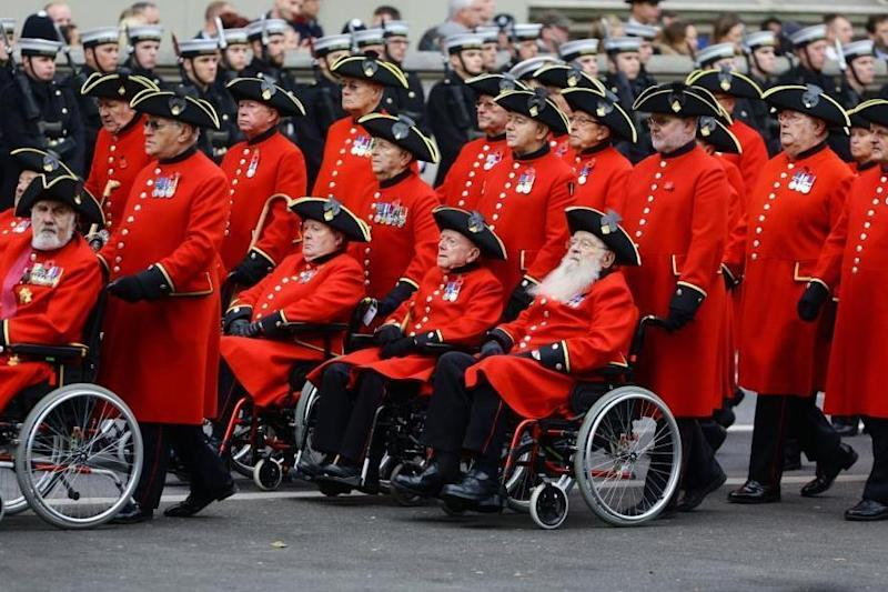 Chelsea pensioners march during the 2015 Remembrance Sunday service at the Cenotaph memorial: Gareth Fuller/PA