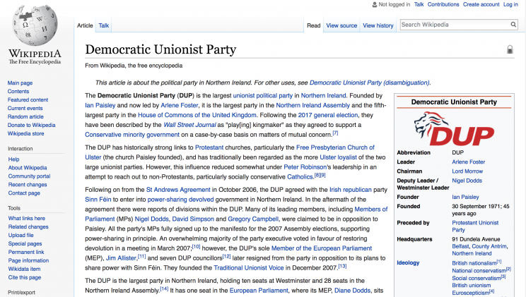 The DUP had to lock its Wikipedia page down after pranksters altered it
