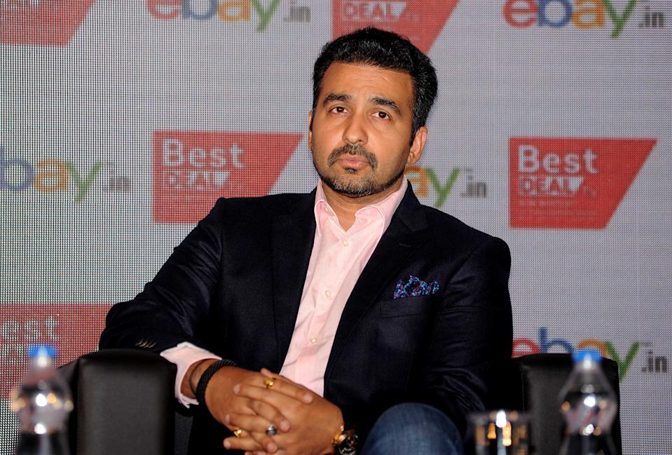 Businessman Raj Kundra attends the press conference for Indias first celebrity driven 24/7 home shopping channel, in Mumbai on September 2, 2015.   AFP PHOTO        (Photo credit should read STR/AFP via Getty Images)