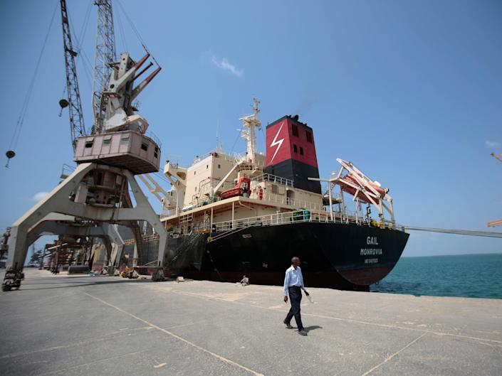 In this Sept. 29, 2018 file photo, a cargo ship is docked at the port, in Hodeida, Yemen.