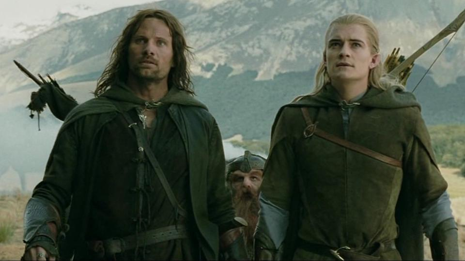 Viggo Mortensen and Orlando Bloom in Lord of the Rings (Credit: New Line)
