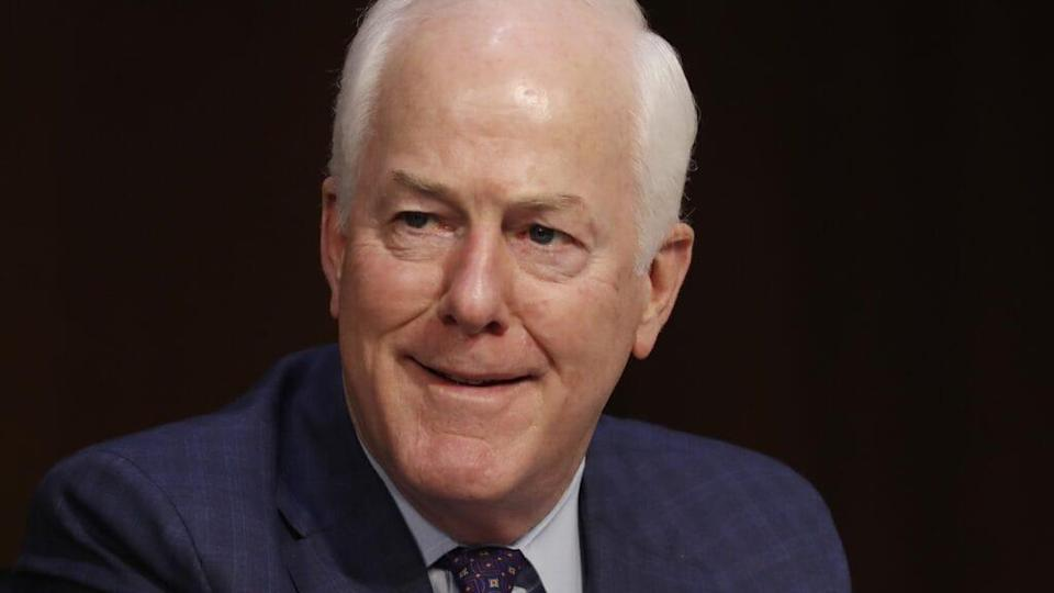 """Describing his relationship with President Trump, Republican Sen. John Cornyn of Texas (above) explained it as """"maybe like a lot of women who get married and think they're going to change their spouse, and that doesn't usually work out very well."""" <br>(Shawn Thew-Pool/Getty Images)"""