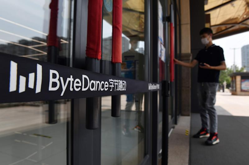 The ByteDance logo is seen at the entrance to a ByteDance office in Beijing on July 8, 2020. - Video sharing app TikTok, which is owned by Chinese company ByteDance, announced on July 6 it was pulling out of Hong Kong, less than a week after a new national security law went into effect. (Photo by GREG BAKER / AFP) (Photo by GREG BAKER/AFP via Getty Images)