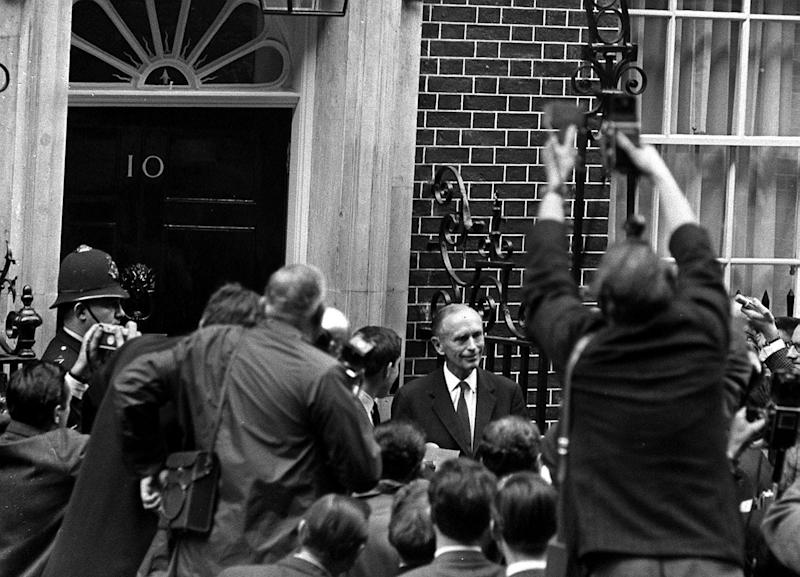 18/10/1963 - On this Day in History - Lord Home becomes the new Prime Minister of Great Britain. Lord Home faces the press cameras and the reporters as he pays his first visit to 10 Downing Street as the new Prime Minister.