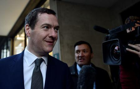 Former Chancellor George Osborne arrives at the Evening Standard offices to formally take up the role of editor of the newspaper in London