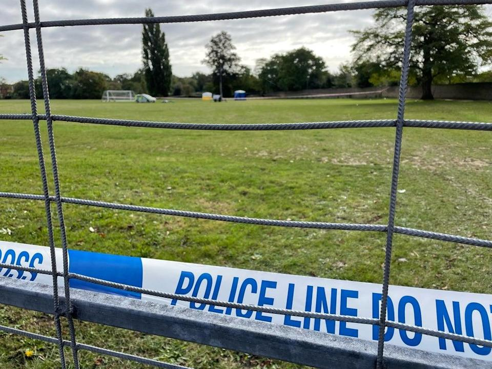 Police tape at the scene on a playing field in Craneford Way, Twickenham, south-west London, where an 18-year-old was stabbed on Tuesday afternoon (Sophie Wingate/PA) (PA Wire)