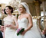 <p>Two best friends becoming enemies over wedding drama is a ridiculous premise for a movie, but I'll concede that these two Vera Wang wedding gowns are pretty chic. </p>