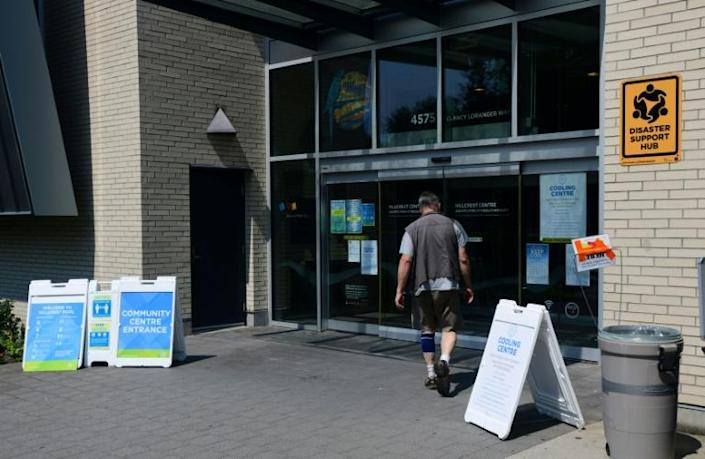 A person enters the Hillcrest Community Centre to cool off during the extreme hot weather in Vancouver, British Columbia, Canada